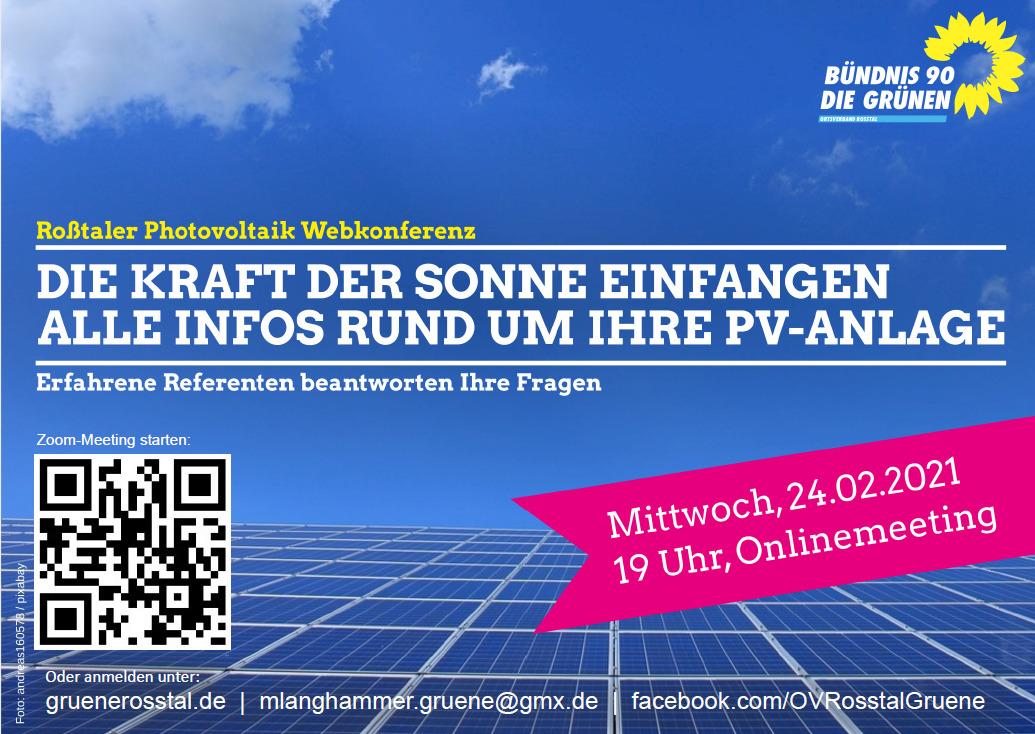 """Erinnerung: """"Die Kraft der Sonne einfangen"""" – Photovoltaik-Webkonferenz des OV Roßtal"""
