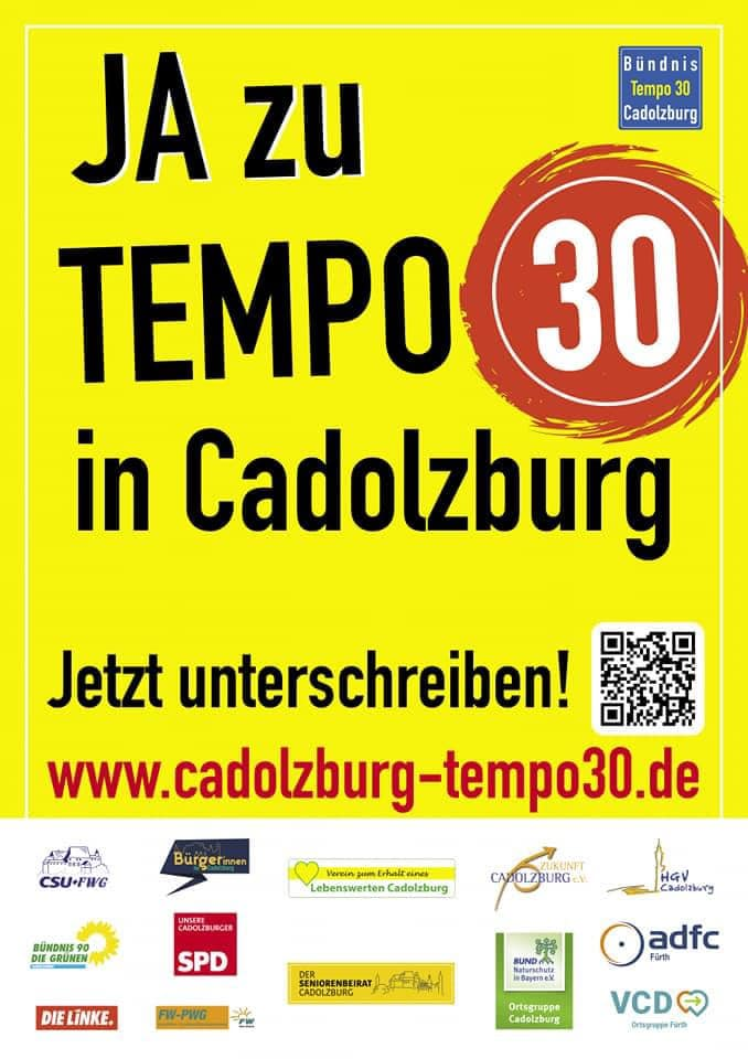 Plakat für die Unterschriftenaktion für Tempo 30 in Cadolzburg